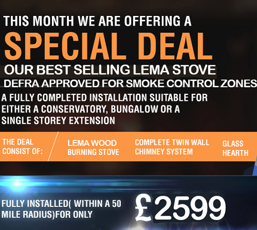 SPECIAL OFFER PACKAGE DEAL - LEMA DEFRA Approved Wood Burning Stove