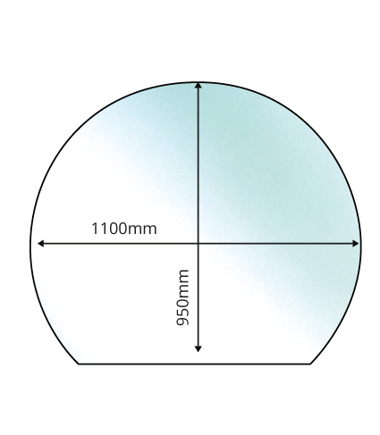 Circle with Slice Glass Hearth - 12mm x 1100mm Dia. x 950mm